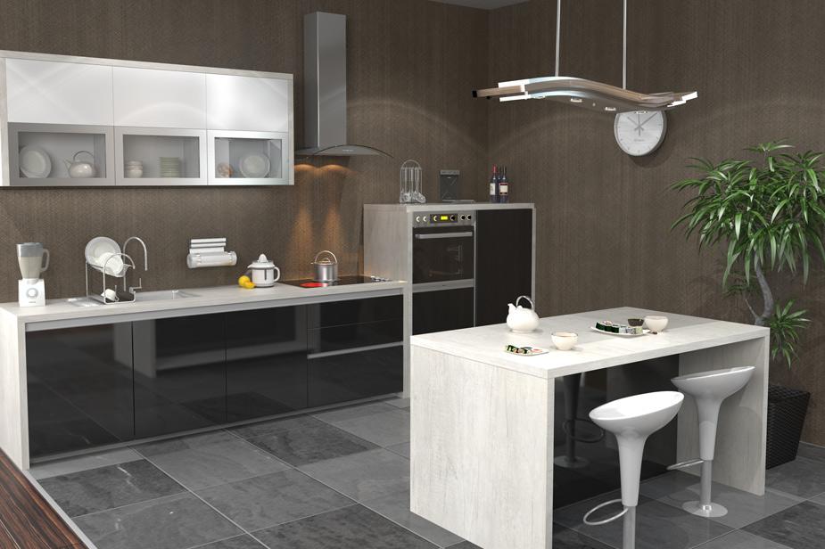Kuhinja Caprice Prestige v kombinacije bele in črne