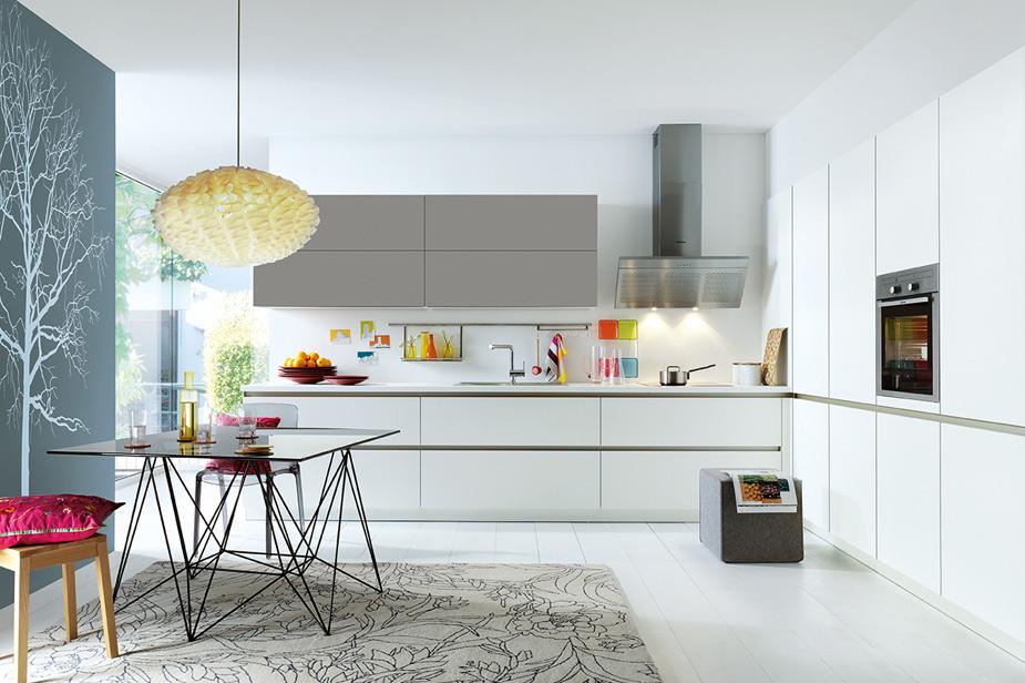Kuhinja Schuller moderne oblike in belo sive barve