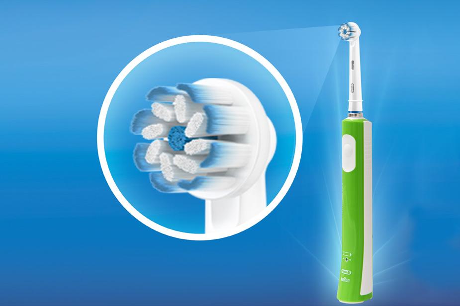 Električna zobna ščetka Oral B z okroglo glavo zelena barva