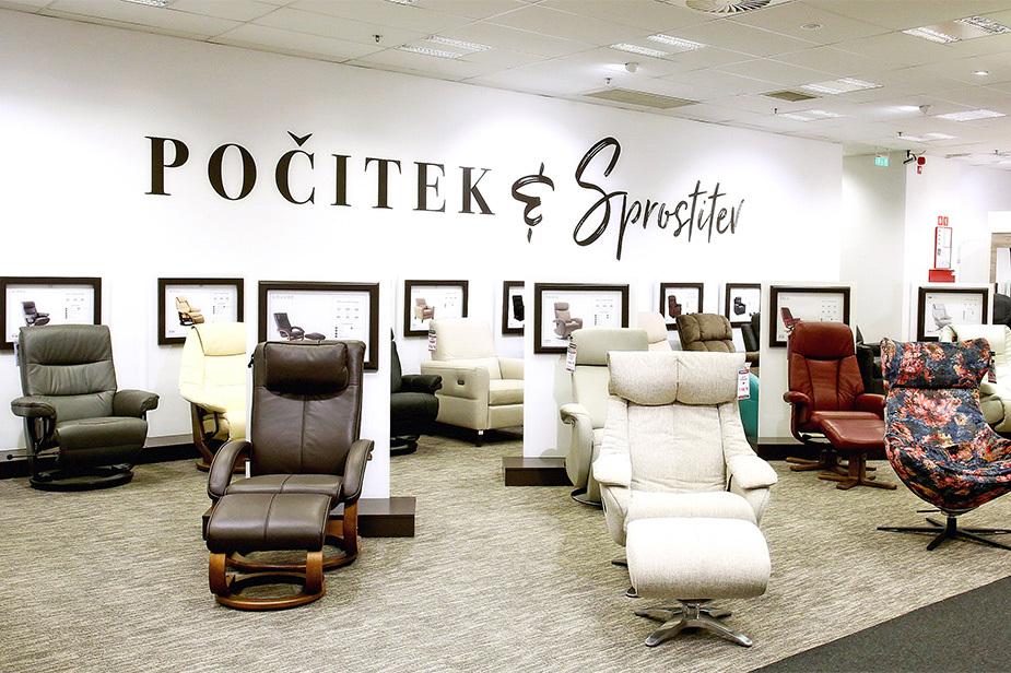 Oddelek masažnih stolov v trgovini Harvey Norman